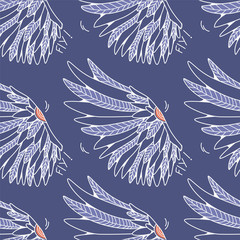 Seamless texture with graphic wings. Repeating pattern with angel or bird wings. Can be used as wallpaper, desktop, wrapping, fabric or background for your blog, covers, cards.
