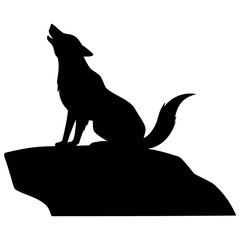 Wolf Howling on Rock - A vector cartoon illustration of a Wolf Howling on Rock.