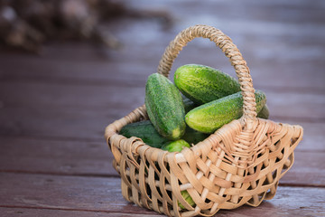 Fresh cucumbers in basket on wooden background