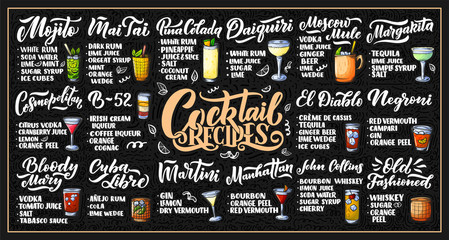 Lettering set of cocktails recipes. Template for card banner and poster for bar menu and restaurant