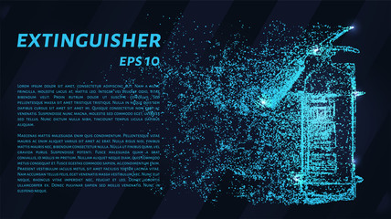 Extinguisher. A grid of blue stars in the night sky. Glowing dots create the shape of a fire extinguisher.