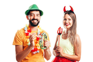 Brazilian Carnival. Couple in costume enjoying the carnival party on white background