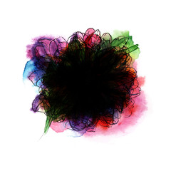 Abstract Background. Colorful Black hole. Hand-drawn illustration with computer processing