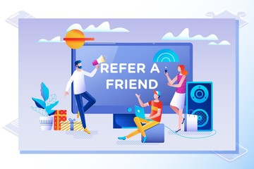 Refer a friend concept. Friend Sharing Referral Code. Vector illustration with character, landing page
