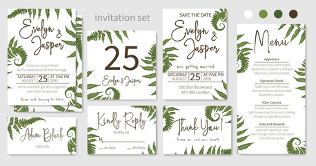 Wedding invitations set, floral invitations, table, note, menu, thank you, rsvp card design. Eucalyptus, forest fern, grass, branches of boxwood, brunia, botanical green. Vector elegant watercolor