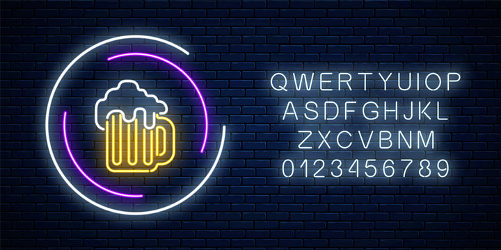 Neon sign of mug of beer in circle frames with alphabet. Luminous advertising signboard. Pub or bar emblem design.