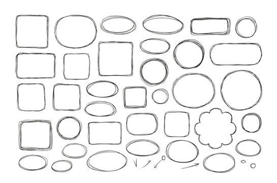 Hand drawn business doodles. Comic bubbles, schedule, flowchart concept. Sketch vector illustration