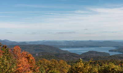 View of lake in the fall season.  Landscape from a mountain road in South Carolina.