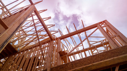 Building construction, wood framing structure at new property development site