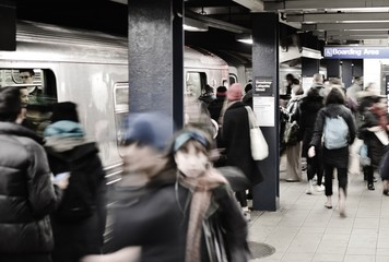 New York City Subway Work People Commuting Public Transportation Train  NYC Station