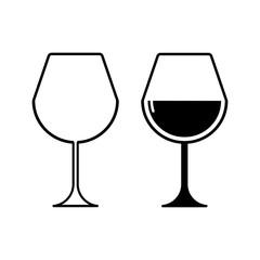 set of wine glasses isolated on white background