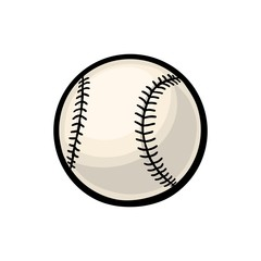 Baseball ball. Vector color illustration. Isolated on white background.