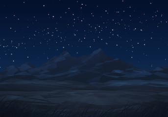 mountain landscape at night illustration
