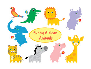 Set of funny colorful African animals. Parrot, crocodile, lion, rhino, elephant, tiger, zebra, hippopotamus, giraffe. Cartoon kids style. Vector illustration.