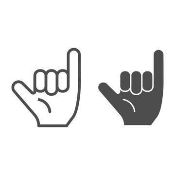 Hang loose gesture line and glyph icon. Shaka vector illustration isolated on white. Hand gesture outline style design, designed for web and app. Eps 10.