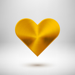 Fototapete - Gold Abstract Heart Sign with Metal Texture