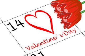 Valentin`s Tag Kalender mit Blumen