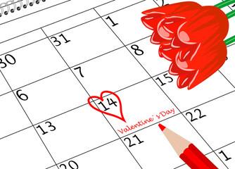 Valentin`s Tag Kalenderblatt mit Herz Stift und Blumen