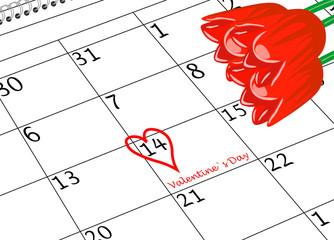 Valentin`s Tag Kalenderblatt mit Herz und Blumen