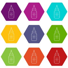 Eye drops icons 9 set coloful isolated on white for web
