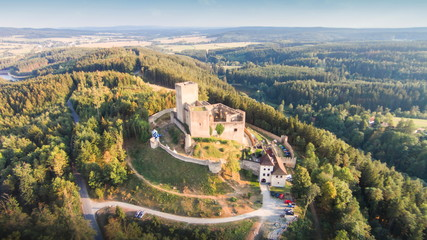 Ruins of castle Landstejn aerial view. South Bohemian region. Czech Republic, Europe.