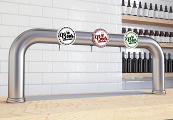 Beer dispenser with three beer tap mockup