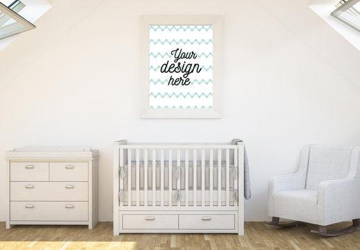 Framed Print in Baby's Room Mockup
