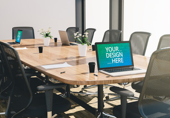 Laptops on Conference Room Desk Mockup