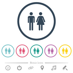 Male and female sign flat color icons in round outlines