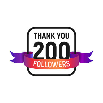 200 followers number with color bright ribbon isolated vector icon. Two hundred follower thank you