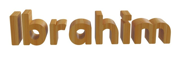 ibrahim in 3d name with wooden texture isolated