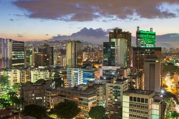 Skyline of Caracas city at dusk, Venezuela.