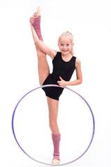 Aluminium Prints Gymnastics Beautiful teen girl doing rhythmic gymnastics exercises. White background