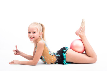 In de dag Gymnastiek Beautiful teen girl doing rhythmic gymnastics exercises. White background