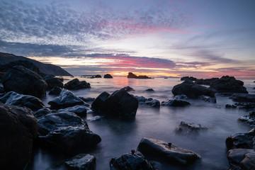 Sunset on the Wellington coast in New Zealand