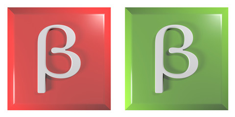 Push buttons square, red and green with beta sign - 3D rendering illustration