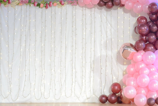 wedding decoration with balloons and led lights