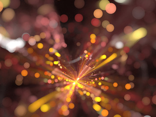 Abstract Illustration - Glowing Orange Bokeh Spots, soft shapes blurred background. Magical fantasy background image, vibrant transparent glowing shapes. Circles, digital modern artwork, fire