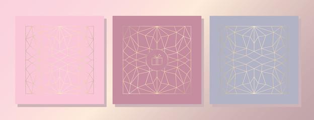Elegant light Pink Background. Gold Foil Elements. Romantic promotion Сard, Flyer, Banner. Vector.