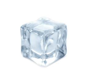 Crystal clear ice cube on white background