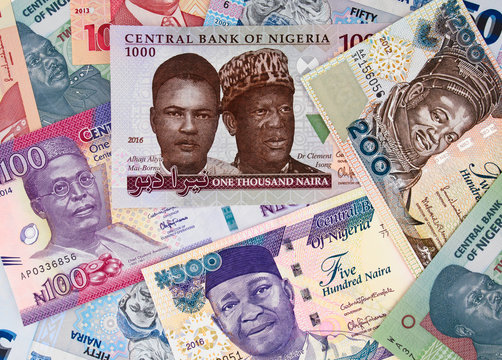 Various Nigeria naira. Nigerian money currency notes. Nigeria economy and investment..