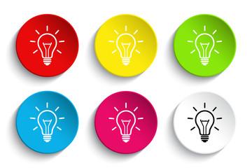 Light bulb icon button set