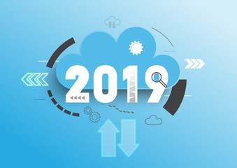 Infographic concept 2019 year. Hot trends, prospects in cloud computing services and technologies, big data storage, communication. Vector illustration.