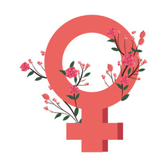 female sign with roses