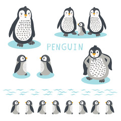Cute cartoon penguin family vector illustration. Hand drawn kawaii animal characters motif elements set. For nursery clipart, new baby shower card, wildlife wall art.