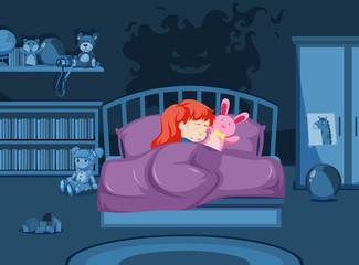 A girl having a nightmare