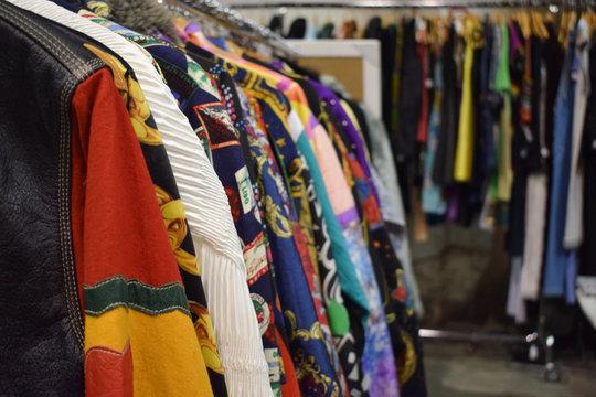 heap of vintage clothes