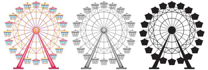 Set of ferris wheel on white backgrond