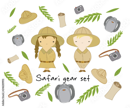 Cute vector characters and safari gear set  Two kids and objects for