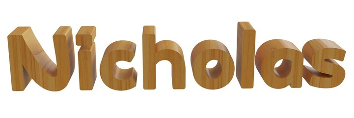nicholas in 3d name with wooden texture